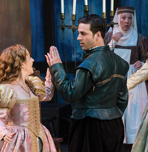 Betsy Mugavero (left) as Viola de Lesseps, Quinn Mattfeld as Will Shakespeare, and Leslie Brott as Nurse in  Shakespeare in Love, 2017.