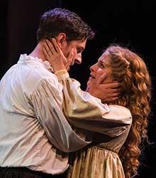 Quinn Mattfeld (left) as Will Shakespeare and Betsy Mugavero as Viola de Lesseps.