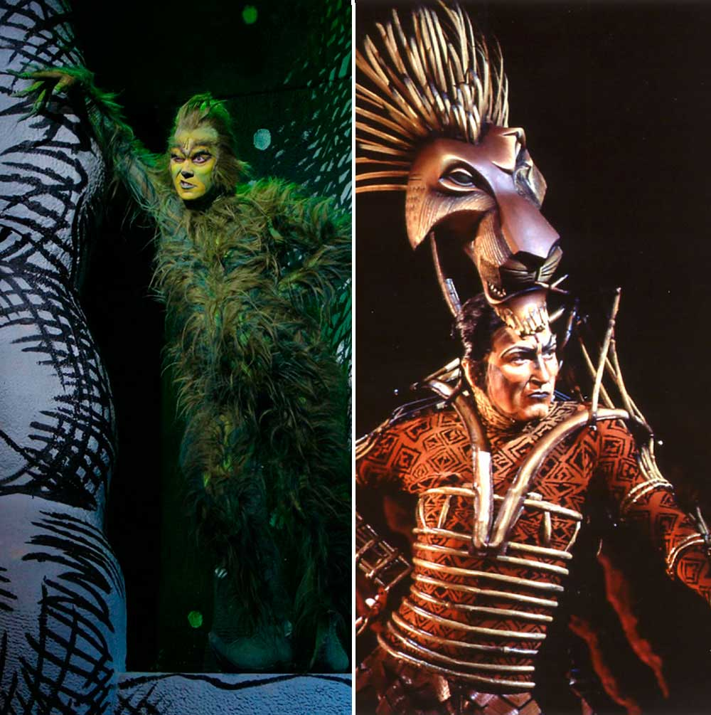 Patrick Page on Broadway: as The Grinch in  Dr. Seuss' How the Grinch Stole Christmas  (left) and as Scar in  The Lion King.