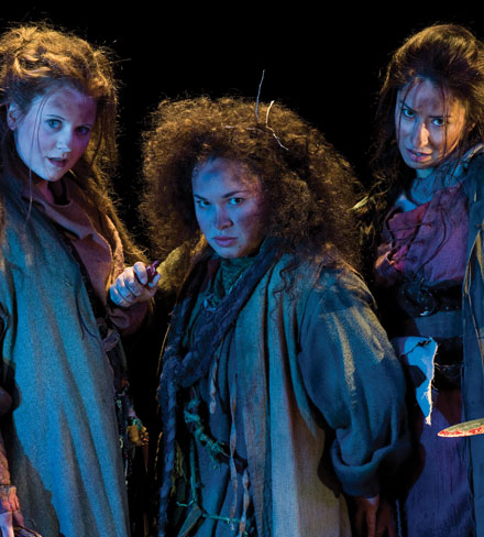Chelsea Steverson (left), Lillian Castillo, and Monica Lopez as Weyward Sisters in the Utah Shakespearean Festival's 2010 production of  Macbeth .