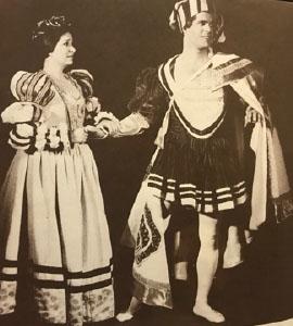 Margaret Bongiovanni (left) as Portia and Paul Craggs as Bassanio in 1975