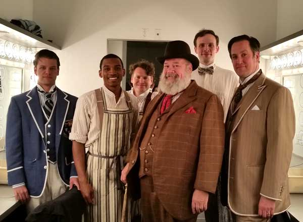 Some of the actors in  The Merry Wives of Windsor  pose backstage before the show.