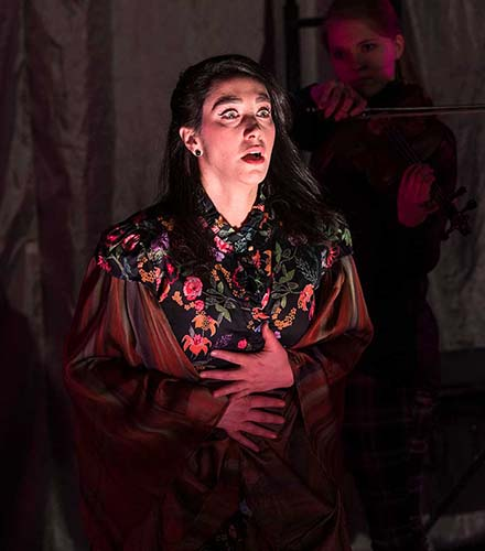 Stefanie Resnick (left) as Lady Macbeth and Jennifer Vosters as Malcolm in the Festival's 2019 Shakespeare-in-the-Schools production of  Macbeth