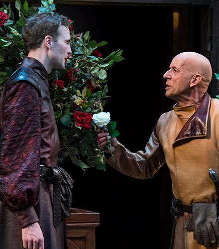 Lance Rasmussen (left) as Earl of Somerset and Michael Elich as Richard Plantagenet in Henry VI Part One, 2018.