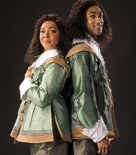 Sarah Hollis (left) as Viola and Tristan Turner as Sebastian in  Twelfth Night .