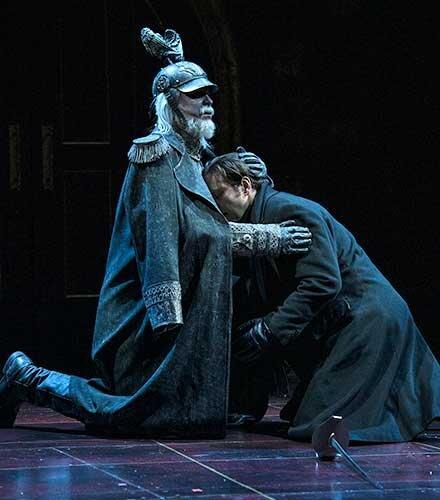 John G. Preston (left) as Ghost of Hamlet's Father and Quinn Mattfeld as Hamlet.