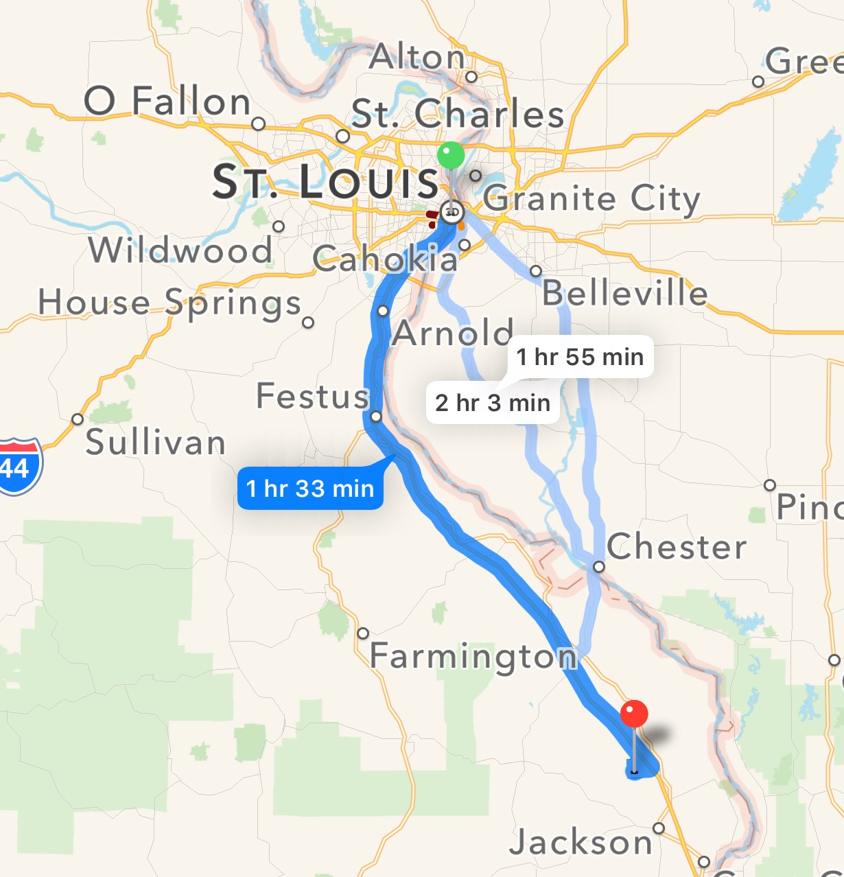 Our venue is in Oak Ridge, Missouri. Oak Ridge is  one and half hours  south of St. Louis.  Click here  to see how far Oak Ridge, MO is from your destination (click on photo to enlarge).