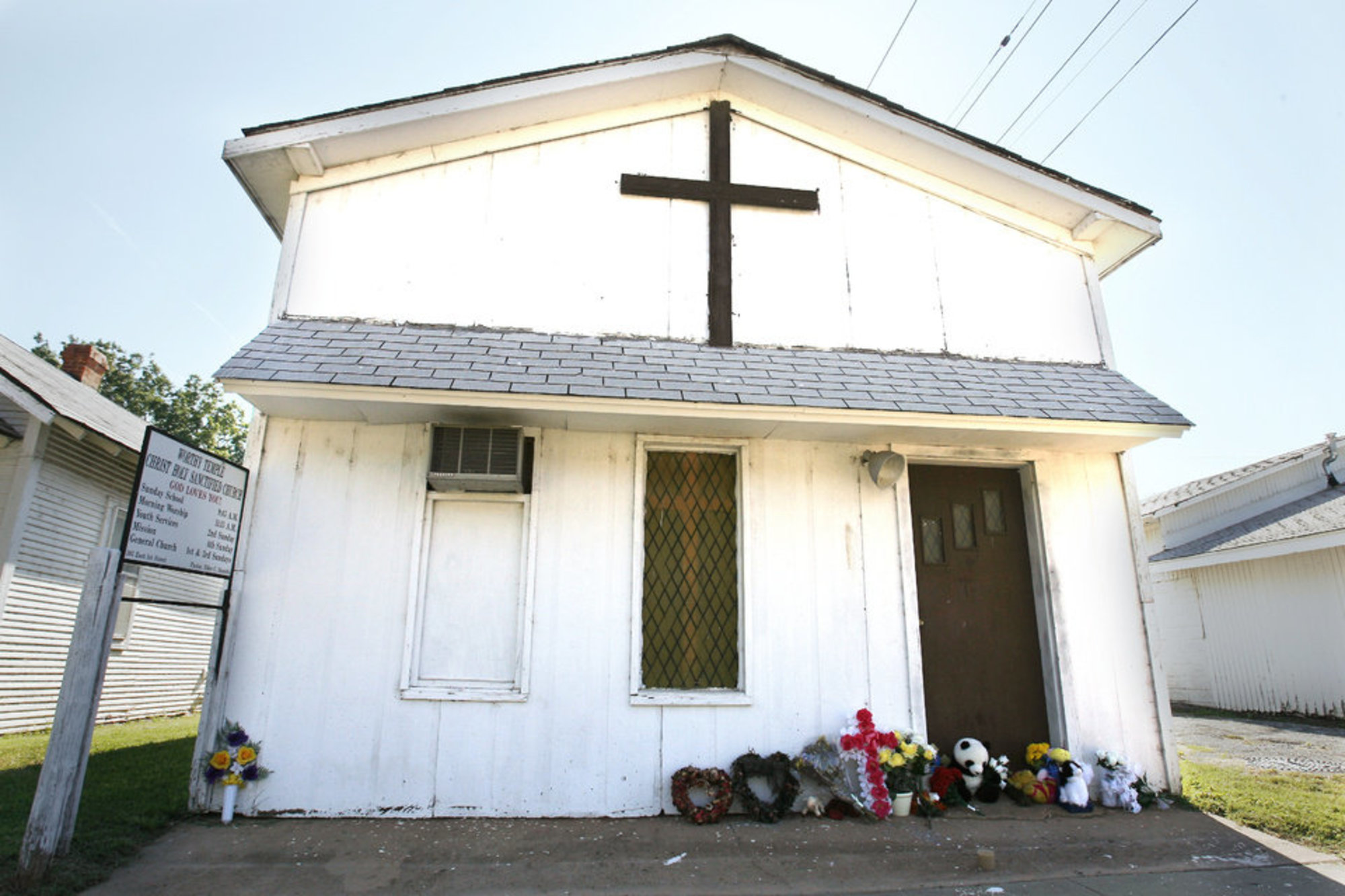 The small church where Rev. Daniels was pastor: Worthy Temple Christ Holy Sanctified Church.  The church building was razed to the ground.