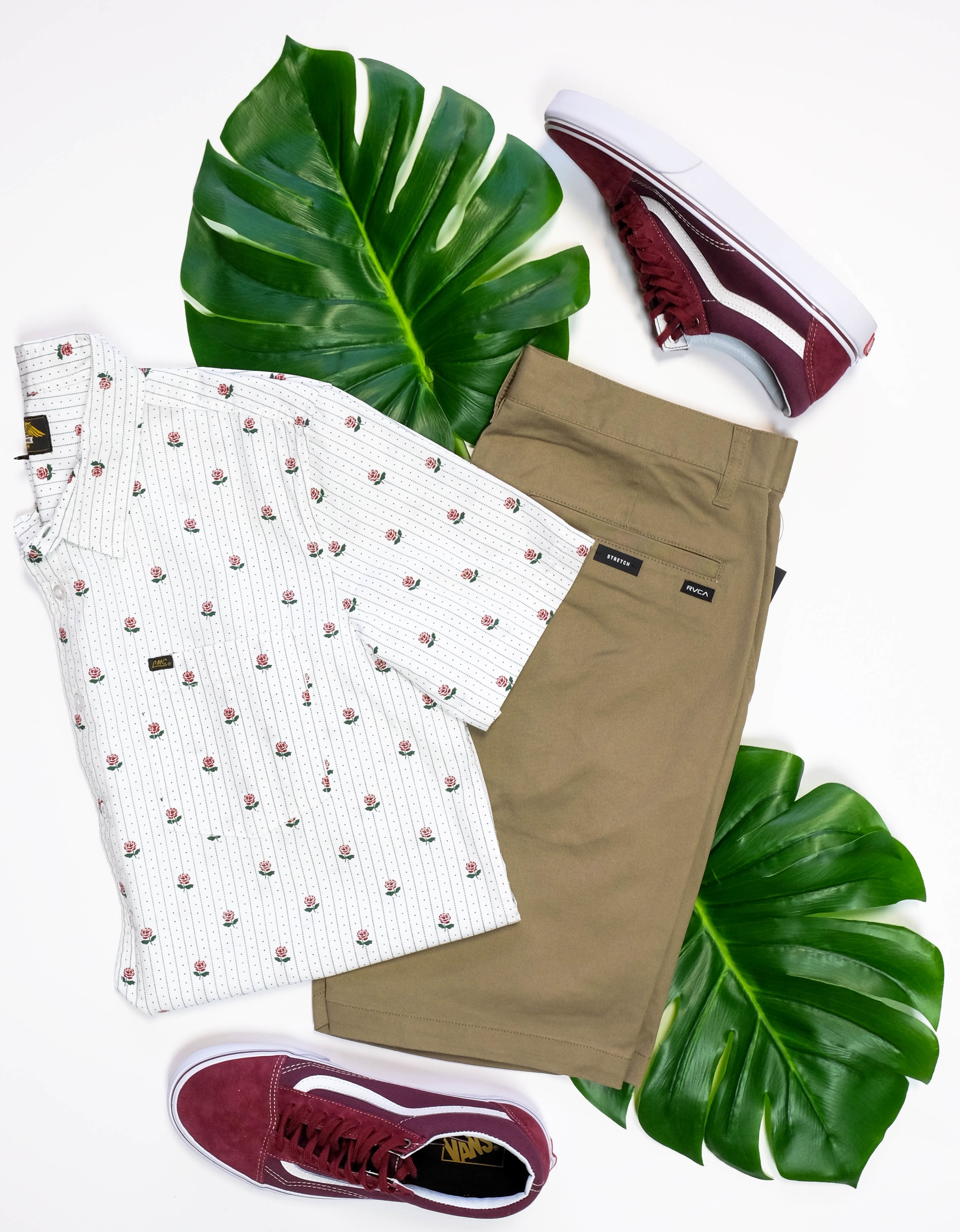 Pictured:  Dark Seas Button-Up  RVCA Shorts  Old Skool Vans  Make sure you come visit us and pick up these vacation essential goodies in store! Call if you have any questions or want us to ship!  xo Payton      Hours-    Mon-Sat: 10-8--    Sun: 11-6      Phone     541-617-6113