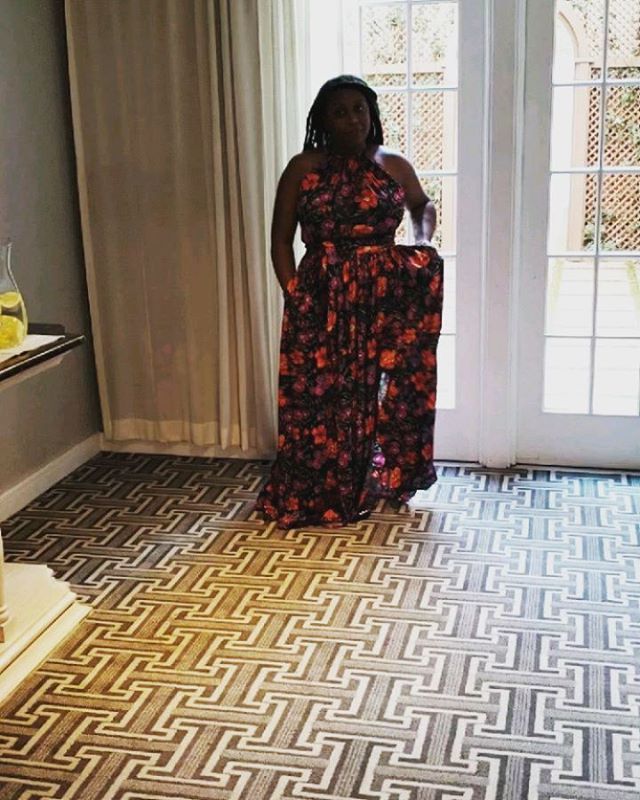 You have to love a dress that takes a little wind ;) I spy @pinklady584 in a JIBRI Black Floral Maxi Dress. www.jibrionline.com #ispyjibri #plussizefashion #plusfashion #plussizeclothes #plussizedresses #curvygirl #curvywoman #curvystyle #curvyfashion #celebratemysize