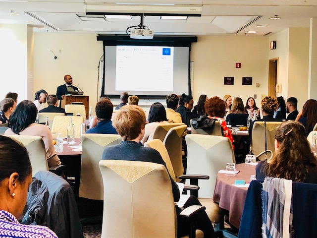 Sanjay Mitchell, Raise DC 9th Grade Counts Network Co-chair and Director of College & Alumni Programs at Thurgood Marshall PCS, leads a panel discussion around effective solutions for a successful middle-to-high school transition.