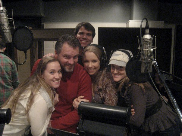 The quintet recording the cast album.