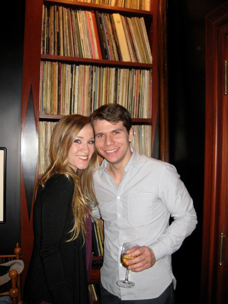 Betsy Morgan and I at Sondheim's hoouse(and cast album LP collection).