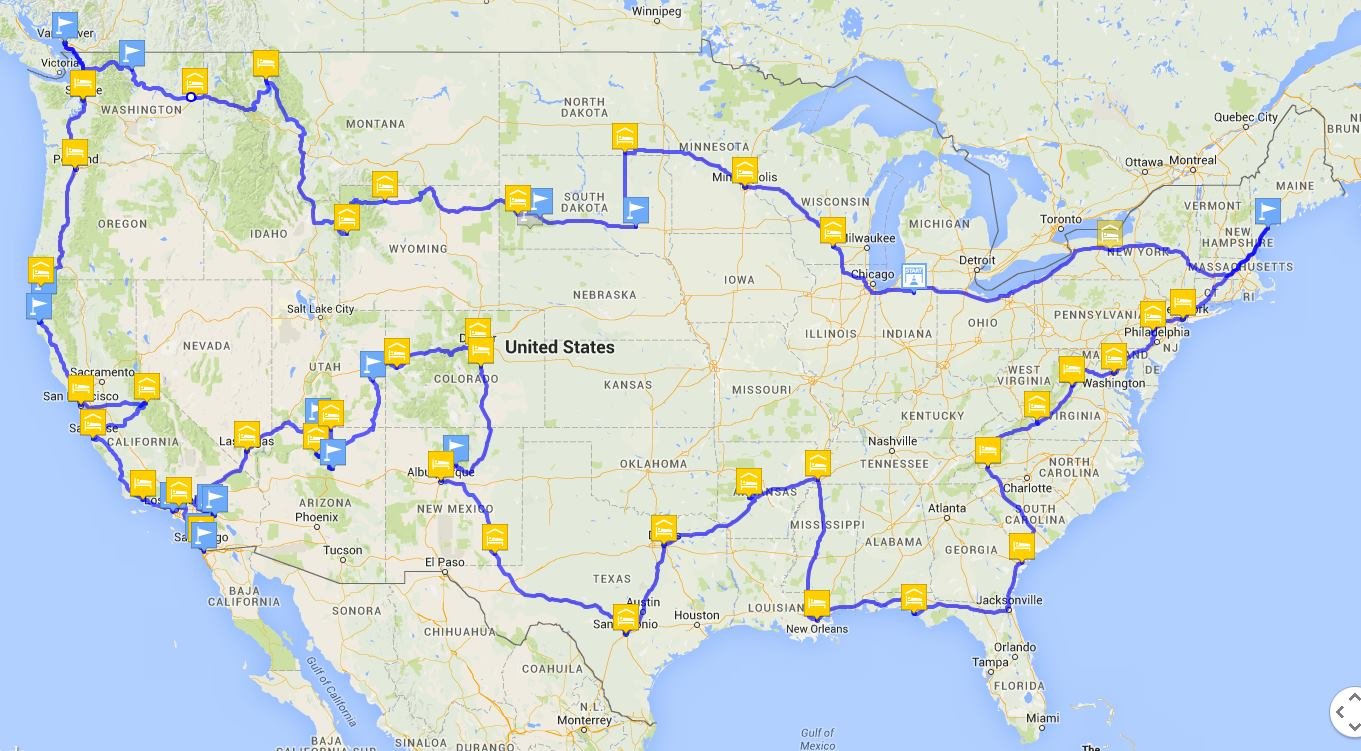 The map of our approximate stops