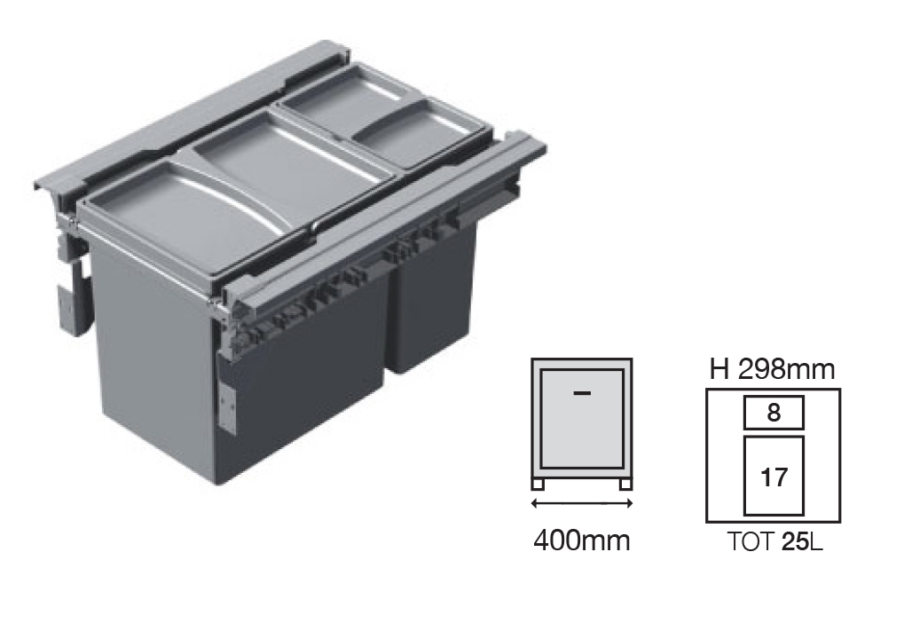 Bucket Height -298mm  Drawer Normal Length - 500NL   Code EH1456142