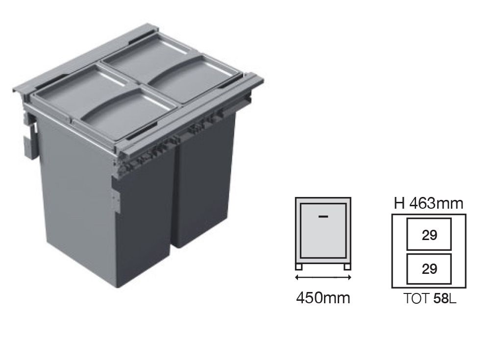 Bucket Height -463mm   Drawer Normal Length - 500NL  Code EH1456147