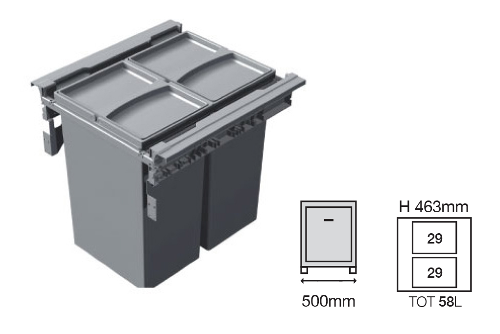 Bucket Height - 463mm  Drawer Normal Length - 500NL   Code EH456155