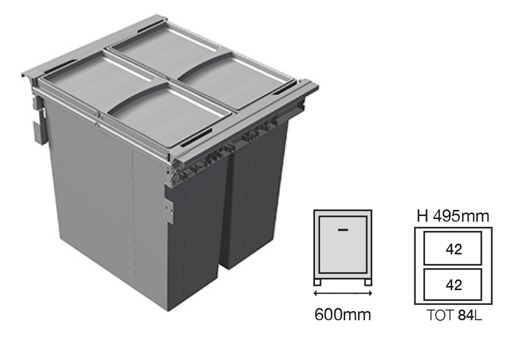 Bucket Height -495mm   Drawer Normal Length - 500NL   Code EH1456169