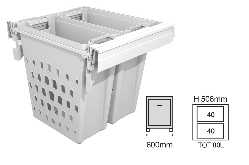 Bucket Height - 506mm  Drawer Normal Length - 500NL   Code EH1456650