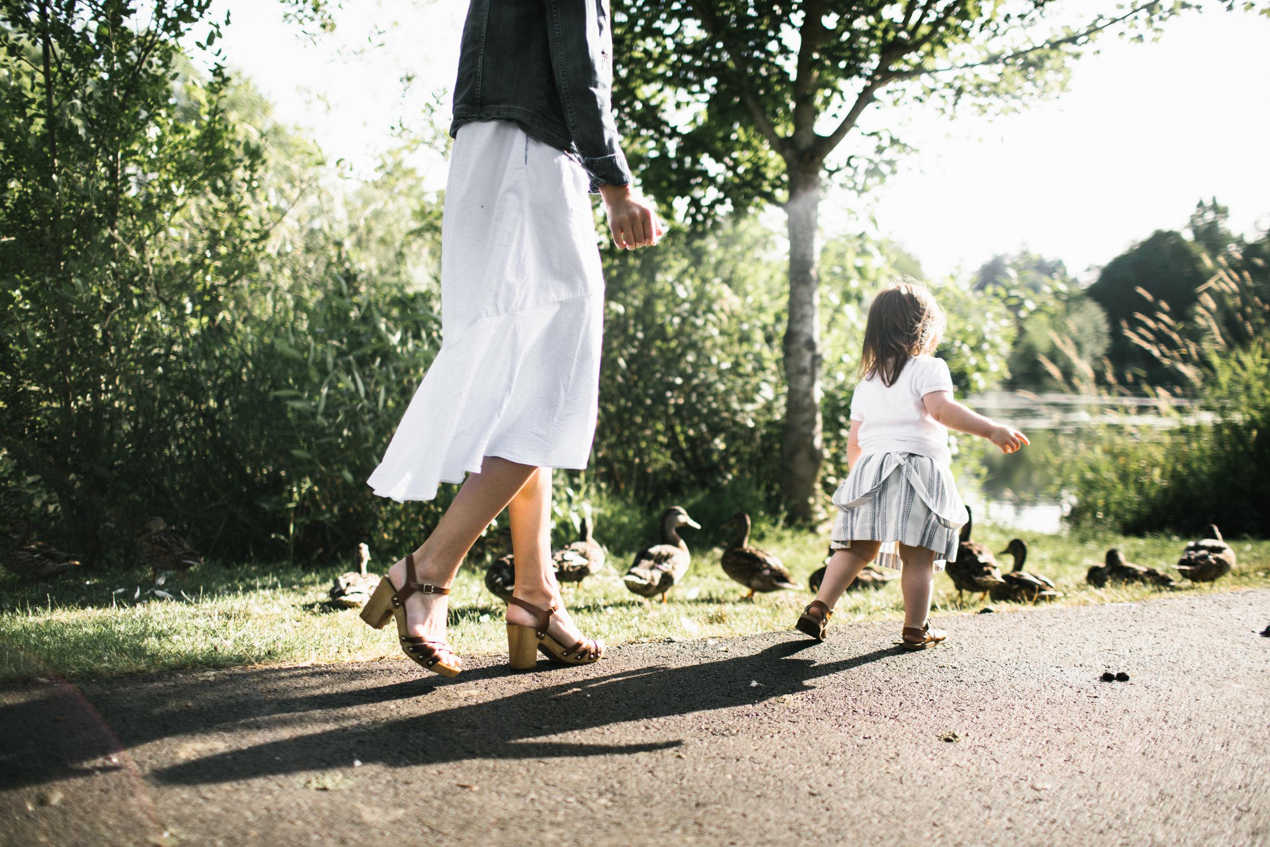 Toddler chasing ducks
