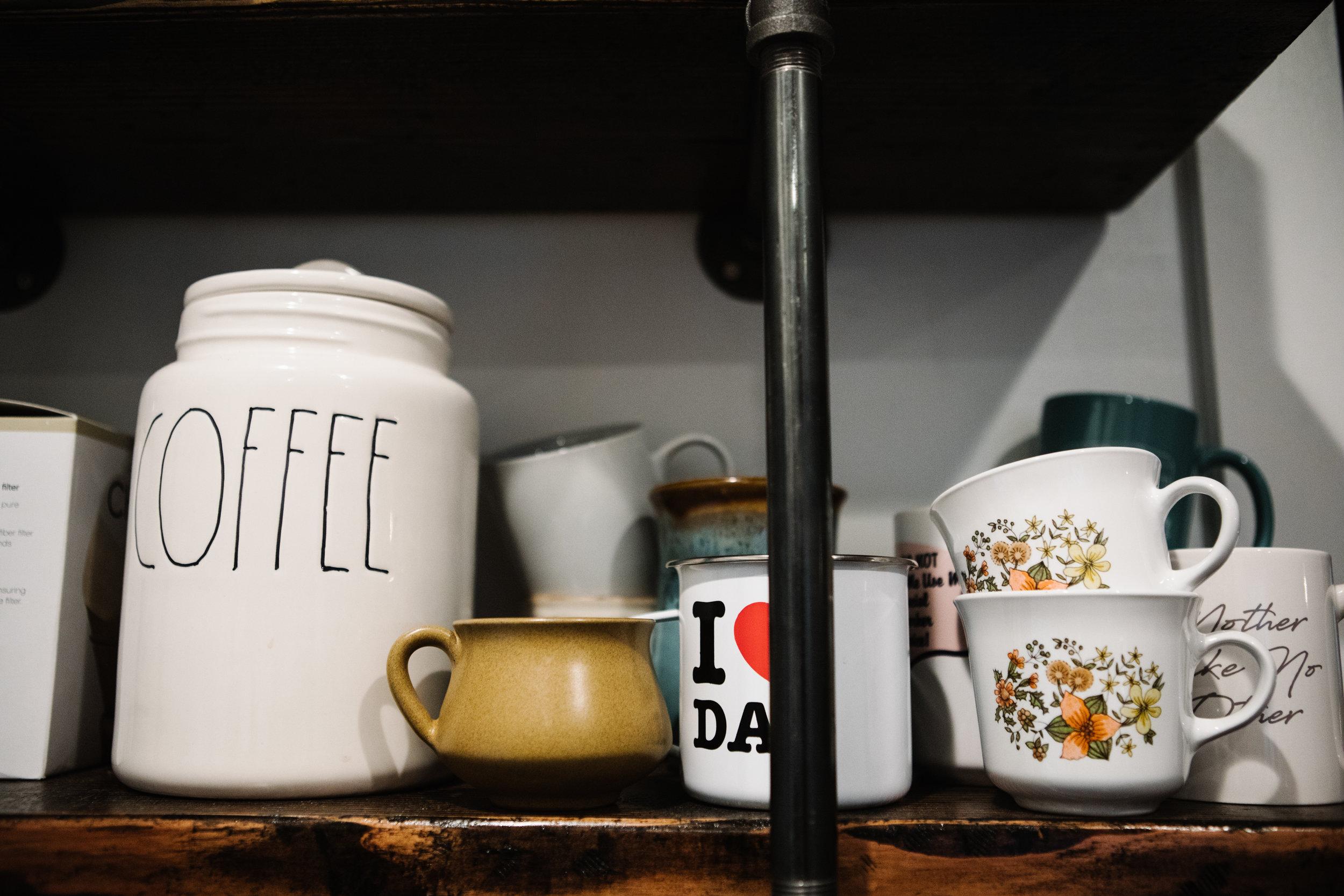 Coffee mugs on shelf