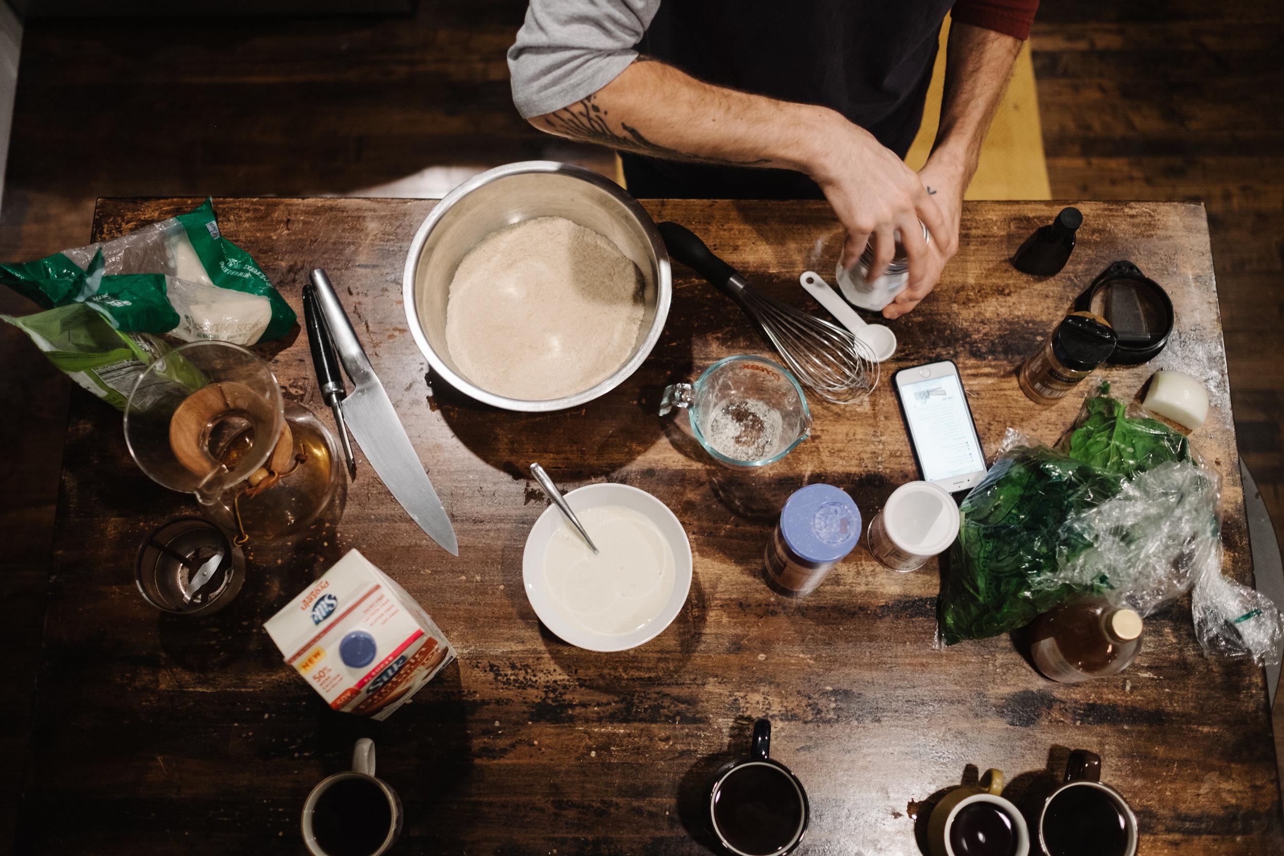 breakfast ingredients on table