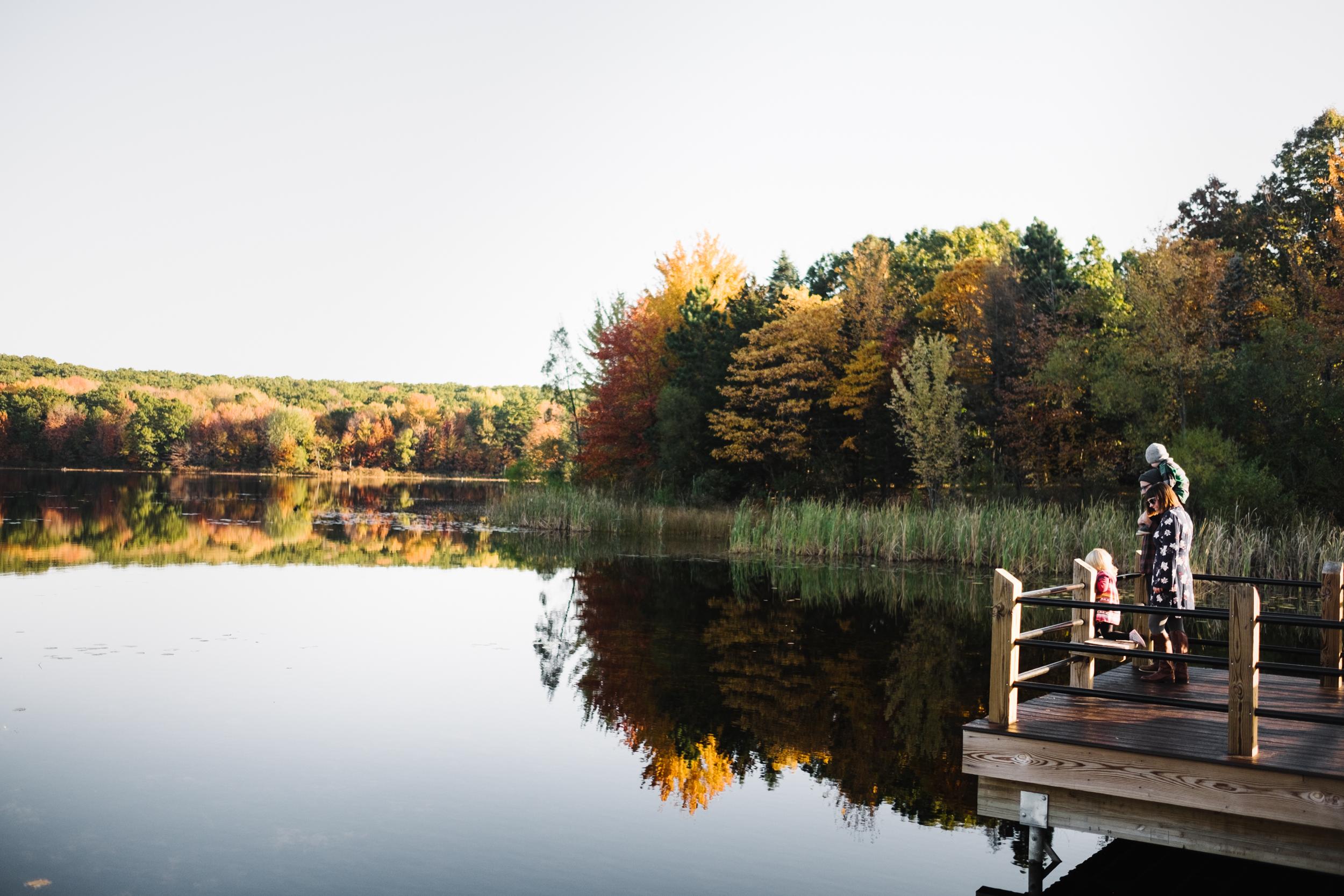 Family looking at lake
