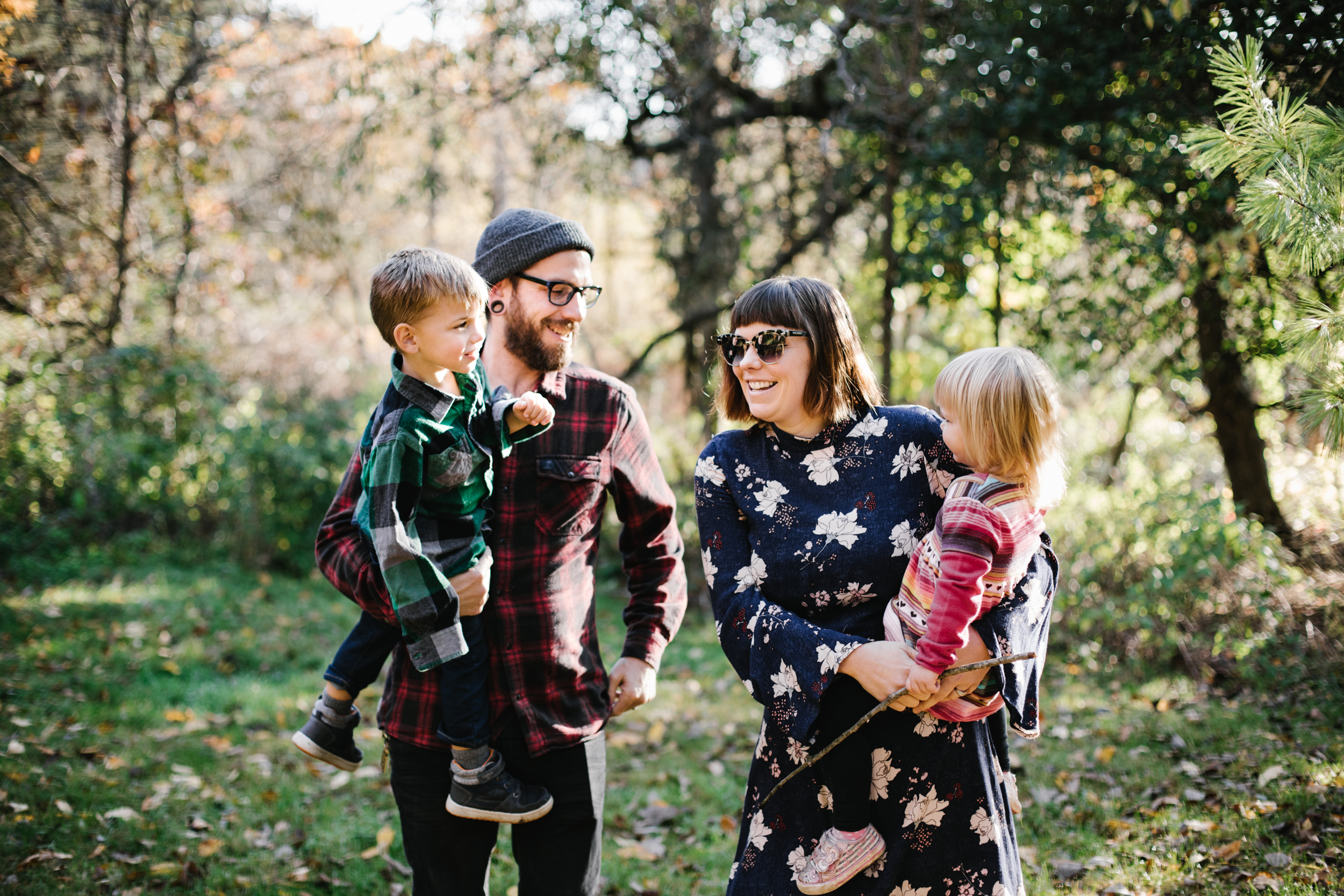 Portrait of family in woods