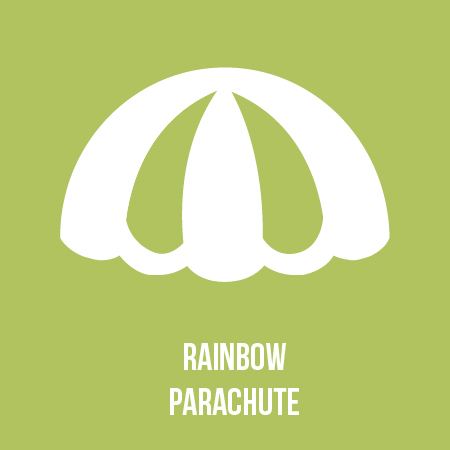 Run under a world of colour with The London Children's Museum's rainbow parachute. -