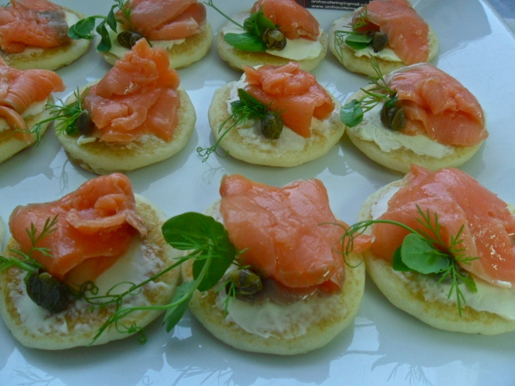 Blinis with Smoked Salmon, Cream Cheese, Capers and Pea Feathers