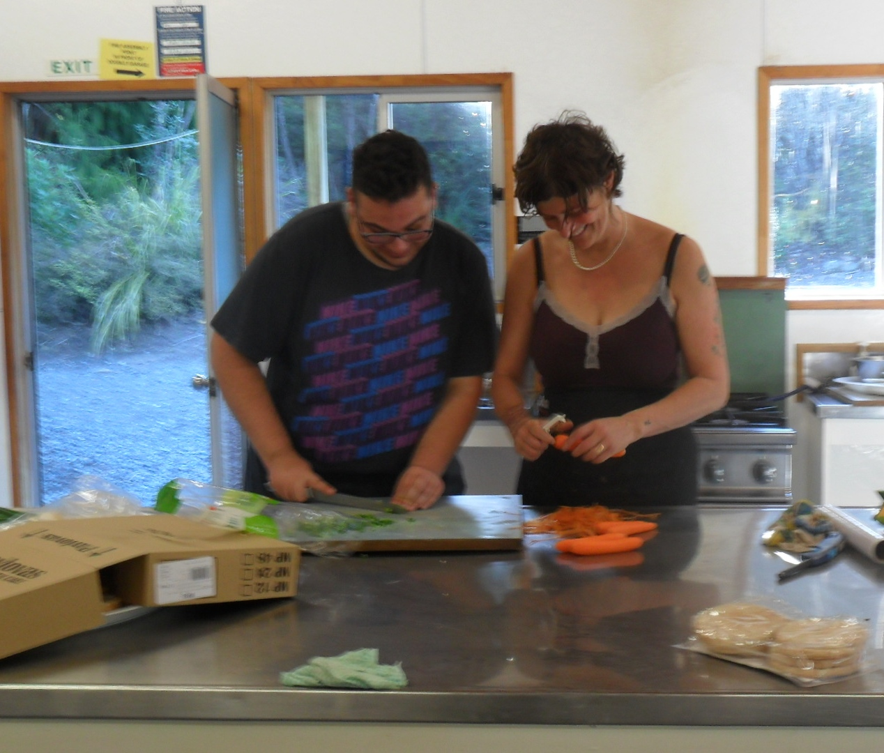 Jennifer and Wallid cooking up a storm