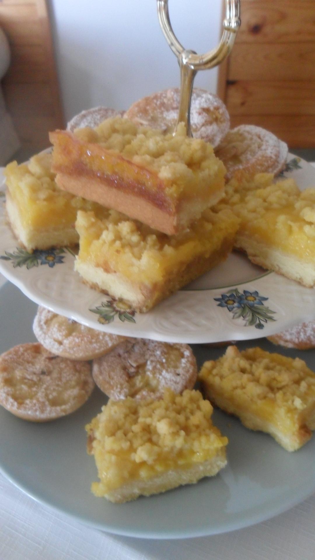 Pear and Almond Tarts, Lemon Curd Slice