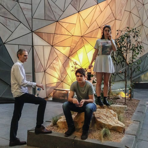 Melbourne family in natural environment at Federation Square.  These exhibits are getting so real these days!!!
