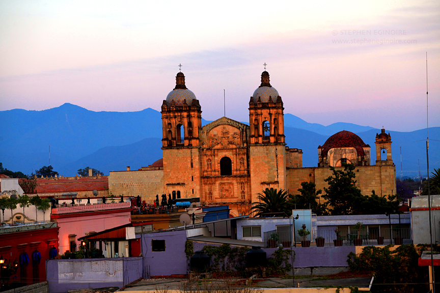 The beautiful Iglesia de Santo Domingo de Guzmán in Oaxaca, Oaxaca. This type of Spanish-Colonial building style is prevalent throughout the city.