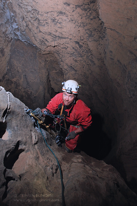 Quite suddenly the Stairway plunges into a deep and bottomless pit. Welcome to the Bowl Hole Series: a world-class shaft over 1000 feet deep. This is vertical caving at it's finest.