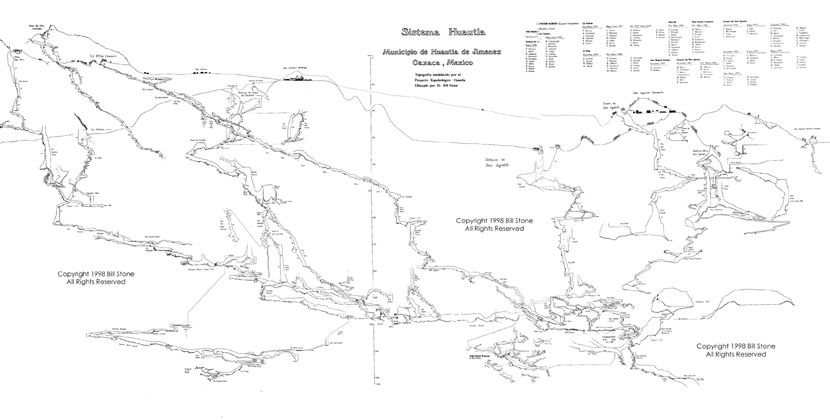 Profile view of Sistema Huatla, with the newest surveys not yet shown. This map is over 20 years old. Notice the towns drawn on the surface.