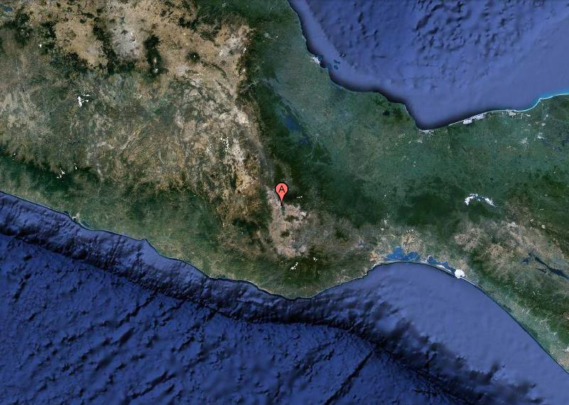 "The massive limestone uplift of Oaxaca, Mexico's, Huautla Plateau. ""A"" marks the spot."