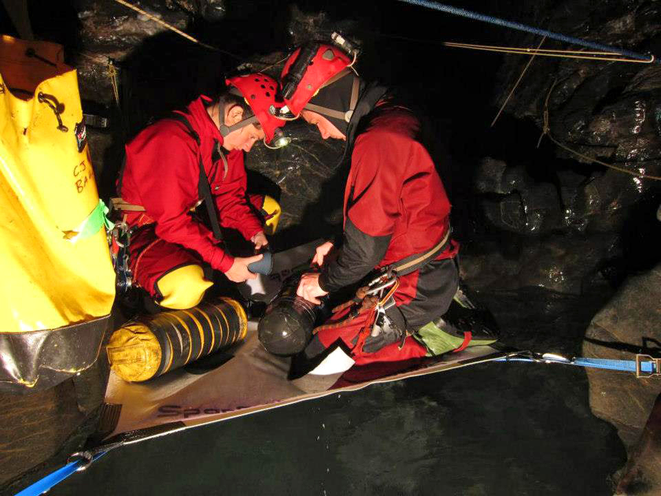 Preparing dive kits at the 840 sump dive platform.