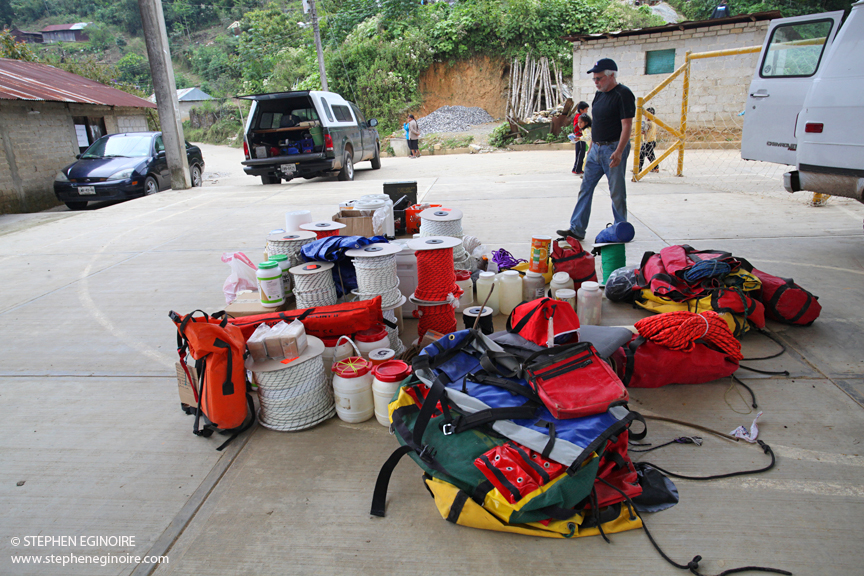 Expedition co-leader Bill Steele oversees an accumulating pile of gear.
