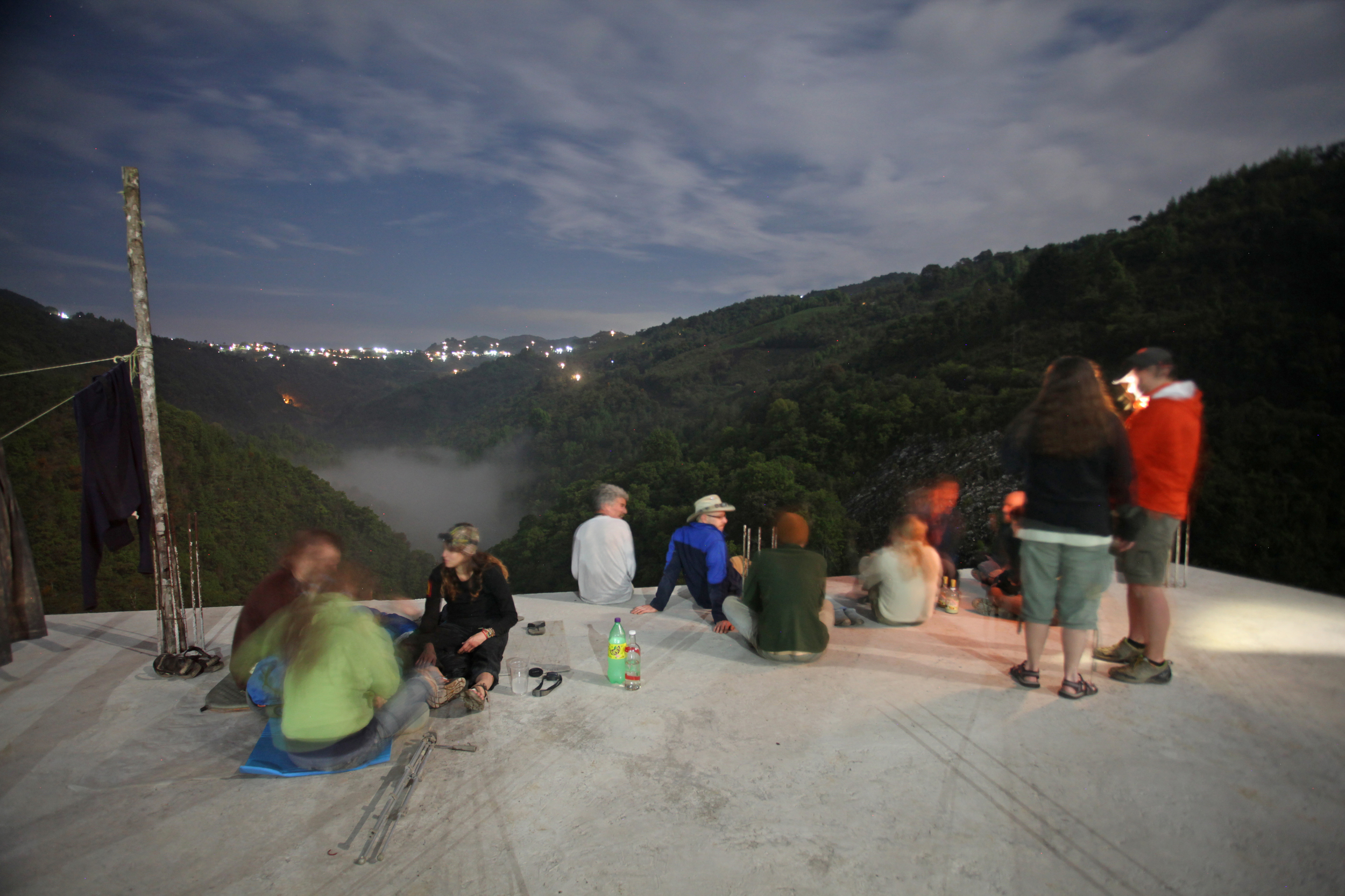 Socializing on a rooftop above Sótano de San Agustín.