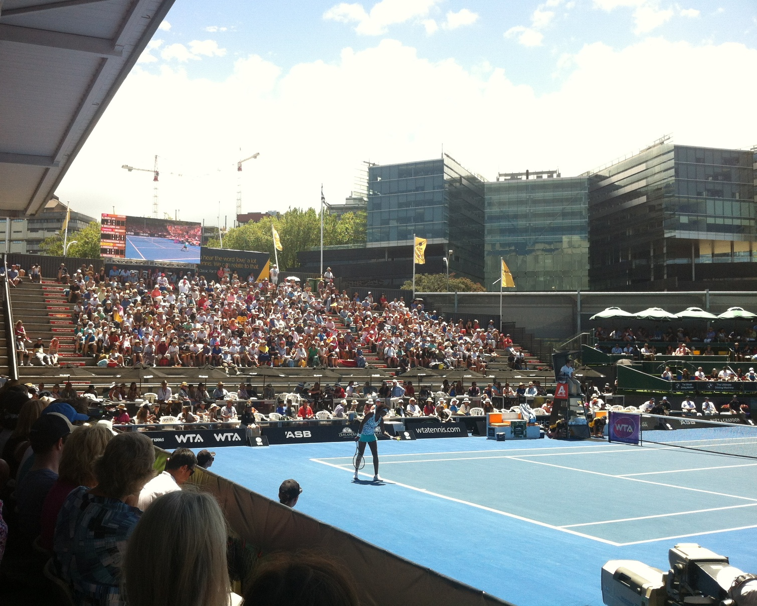 Venus Williams, centre court with Yock Stand in background