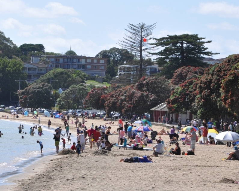 Mission Bay, heaving with beach-goers on a summer's day