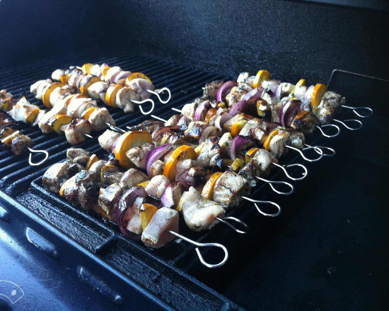 Chicken, zucchini, red onion and mushroom kebabs