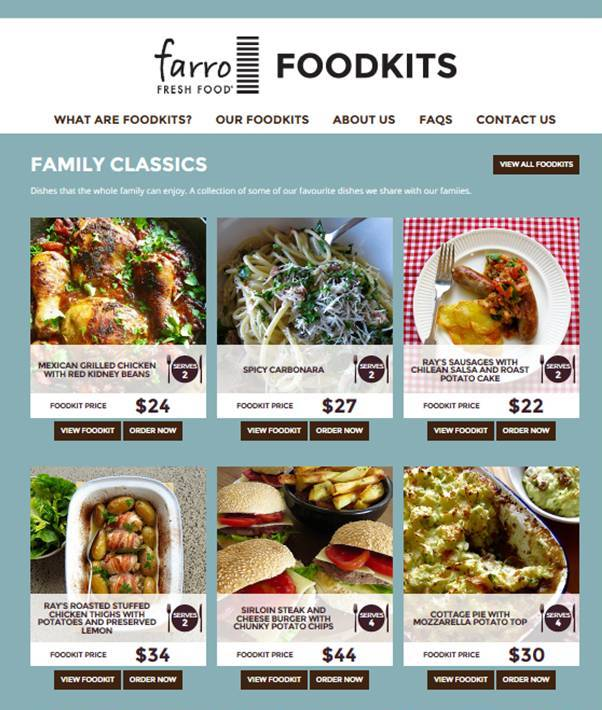 Photograph: scr  een shot of  www.farrofoodkits.co.nz