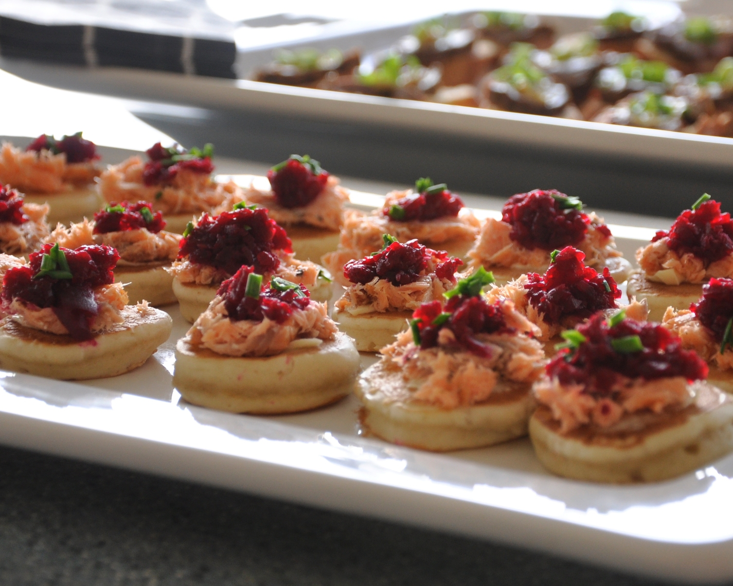 Hot smoked salmon blinis with homemade beetroot relish