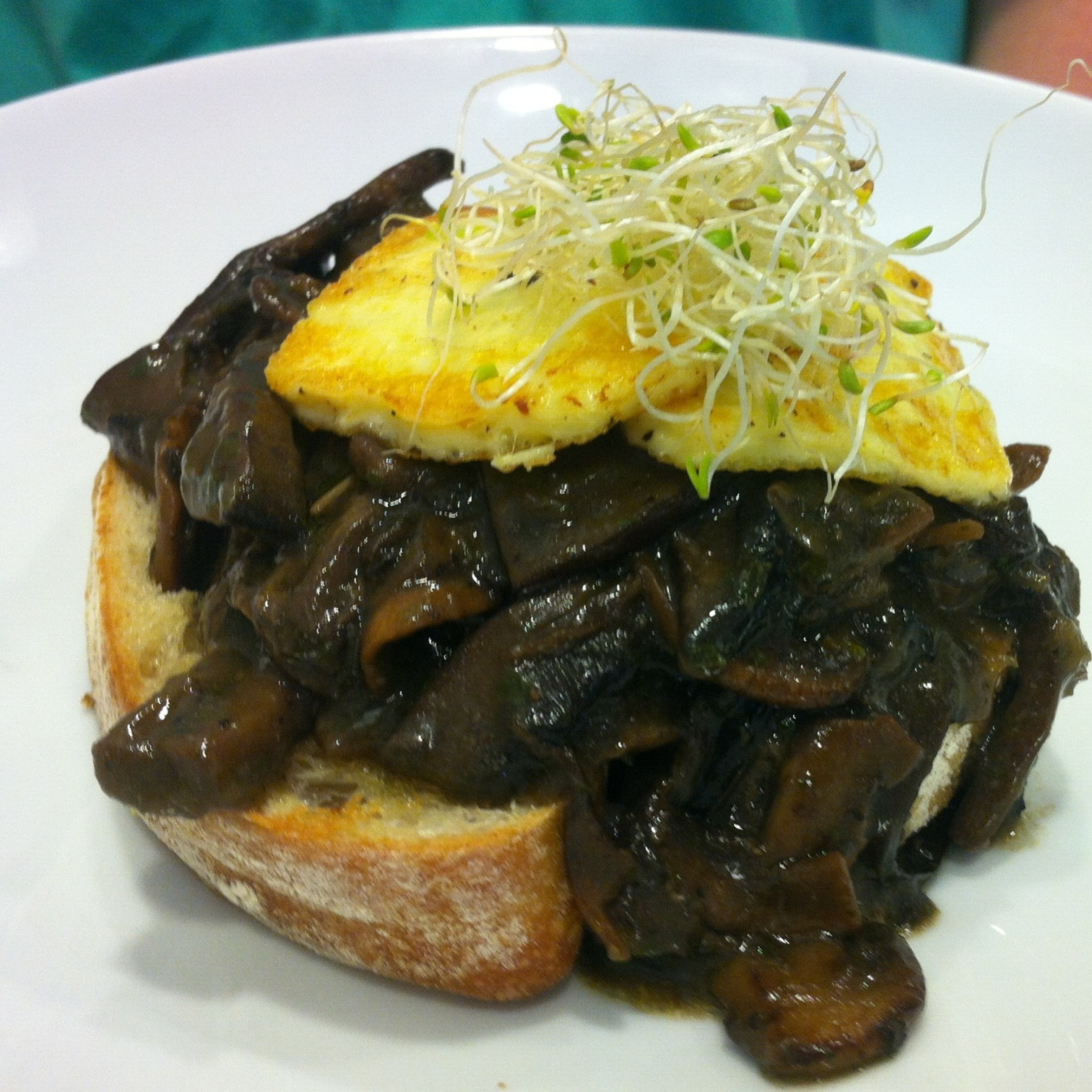 Mushrooms and Haloumi on Smoked Garlic Toast