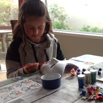 Lots of concentration for painting the mask
