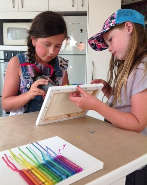 Lots of concentrating, melting the crayons with hairdryer