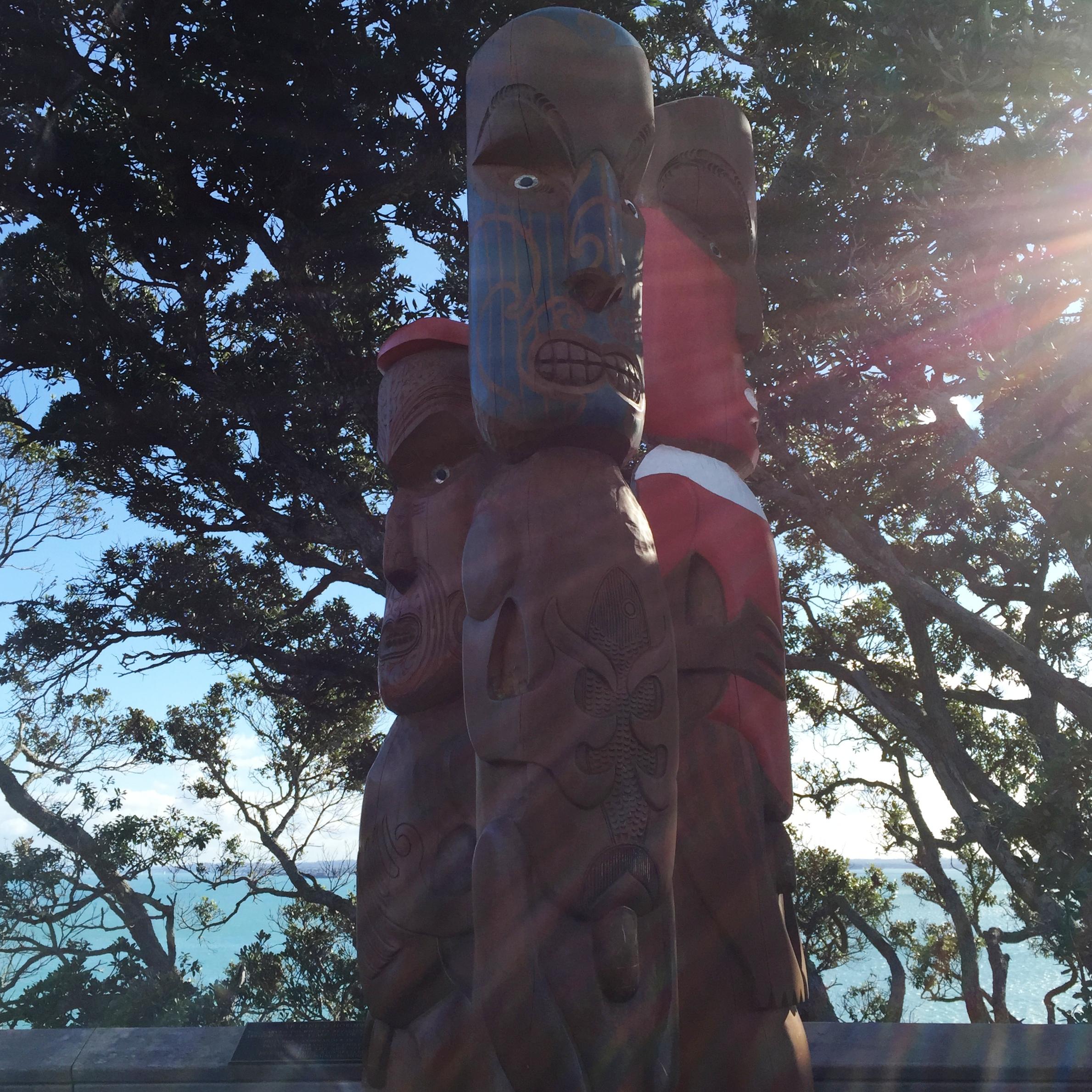 Maori Carvings greet the walkers