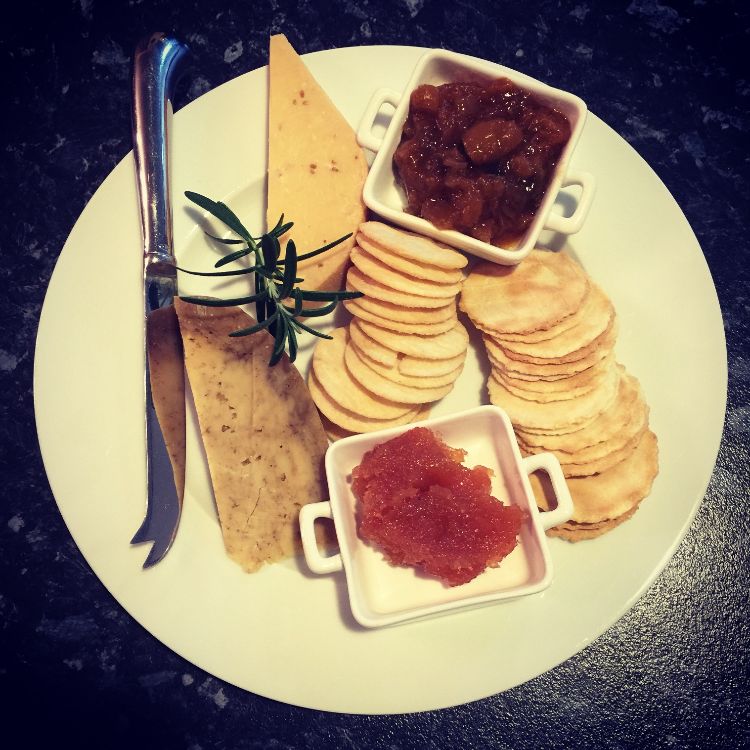 Clove and cumin goudas with quince paste and chutney
